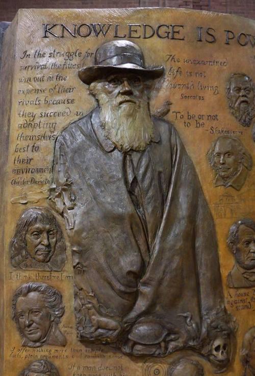 Sculptures by Zenos Frudakis seen at Rowan University, Glassboro - Knowledge is Power