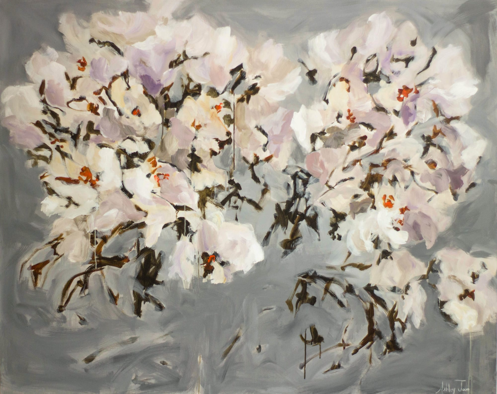 Pink and white abstract flower painting