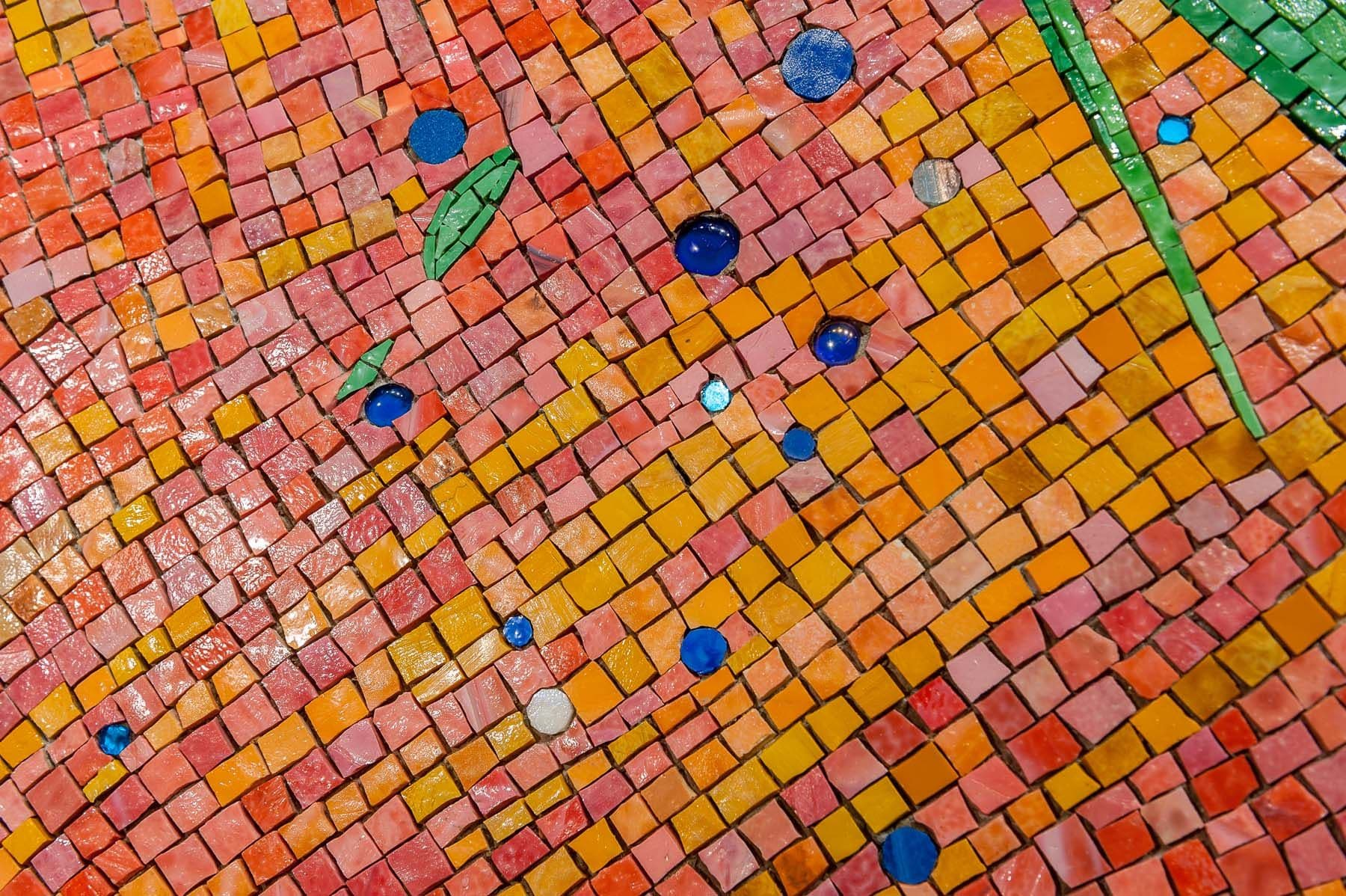 "Public Mosaics by Guy Kemper seen at Tempur Sealy International, Inc., Lexington - Mosaics for Tempur-Sealy World Headquarters, ""After the Storm"" and ""Rise and Shine""."