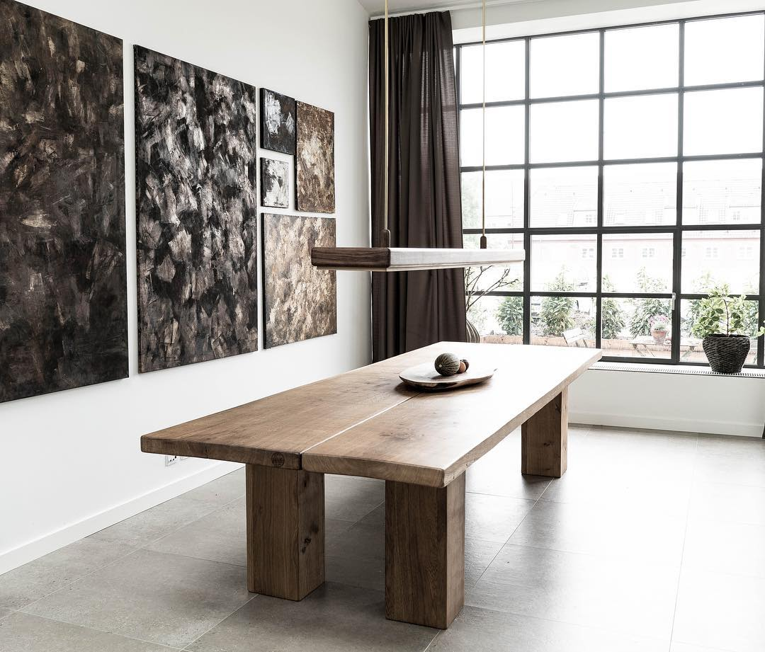 Modern natural wooden dining table