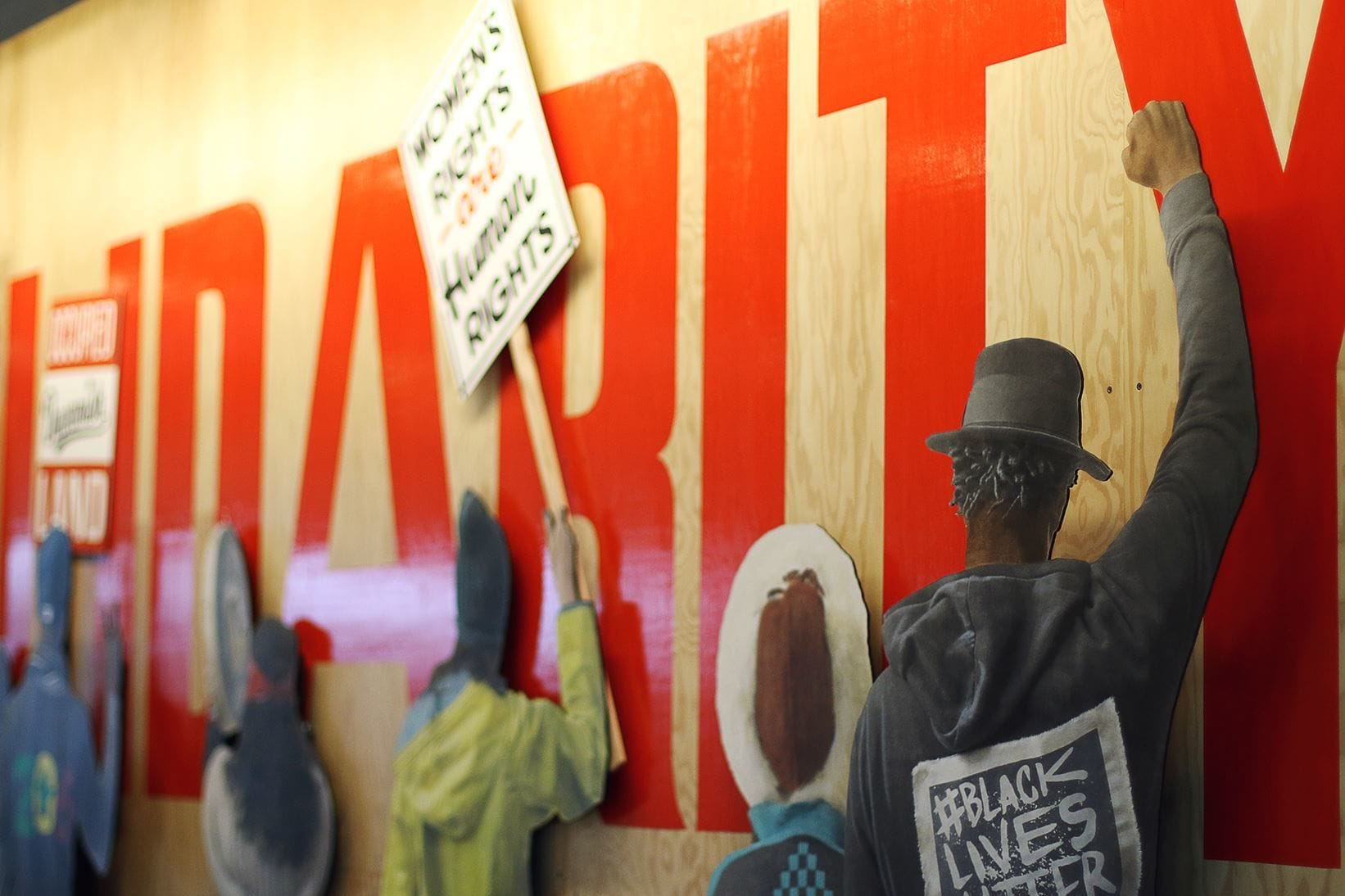 "Murals by No Touching Ground seen at Facebook Dexter, Seattle - ""Solidarity"" mural"
