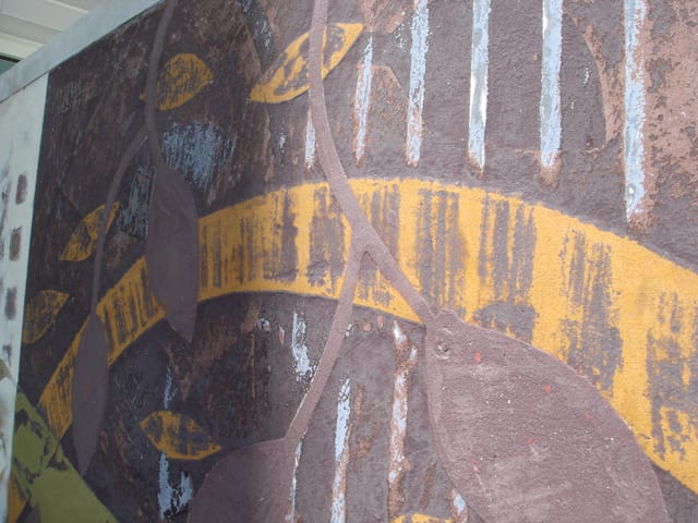 "Murals by Martin Webb seen at The Mercer Apartments, Walnut Creek - ""The First Object"""