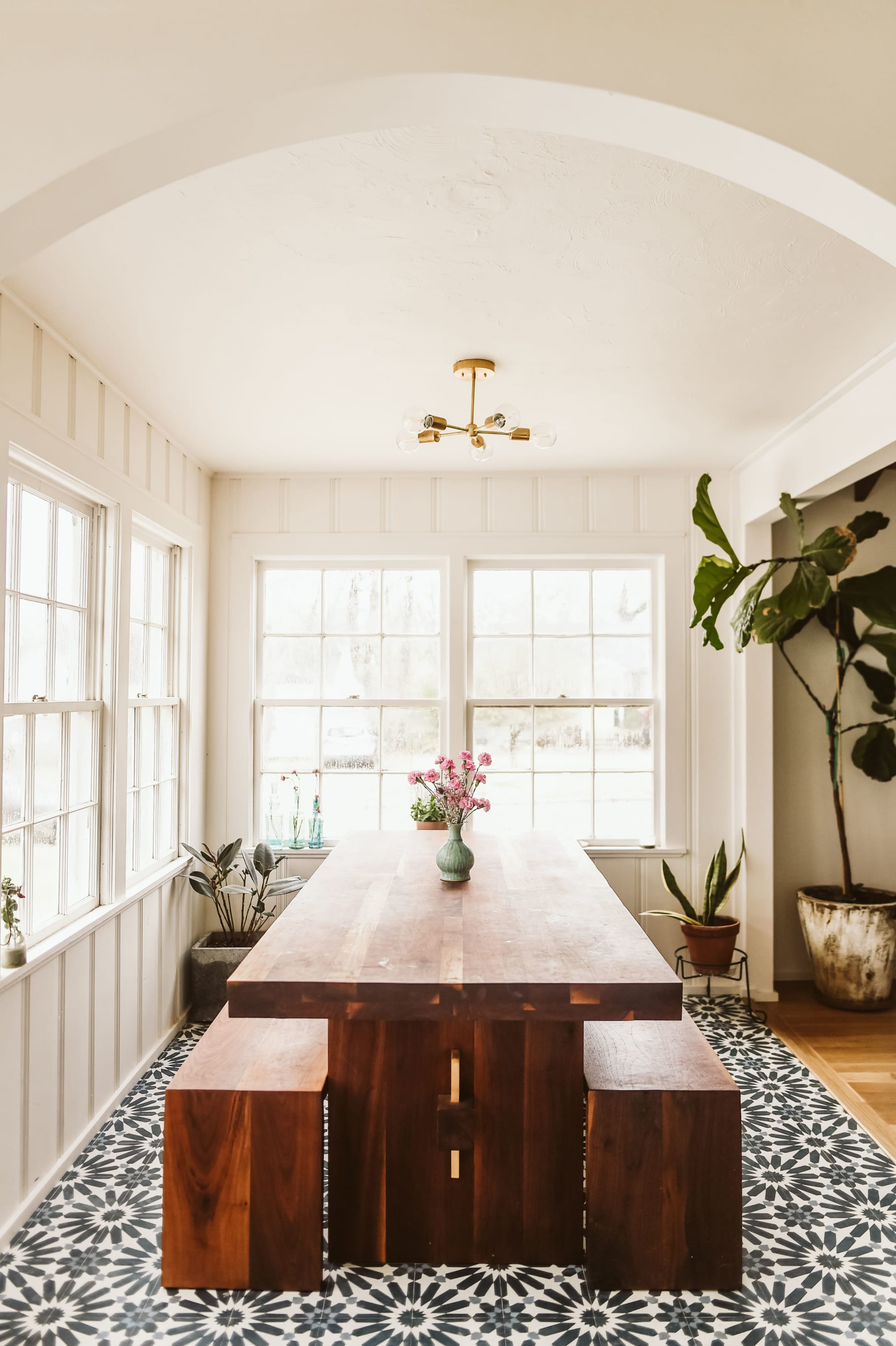 Grainy Wooden Dining Table and Benches