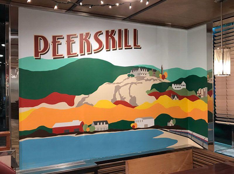 Murals by Toni Miraldi / Mural Envy seen at Westchester Diner, Peekskill - Bear Mountain Landscape Mural