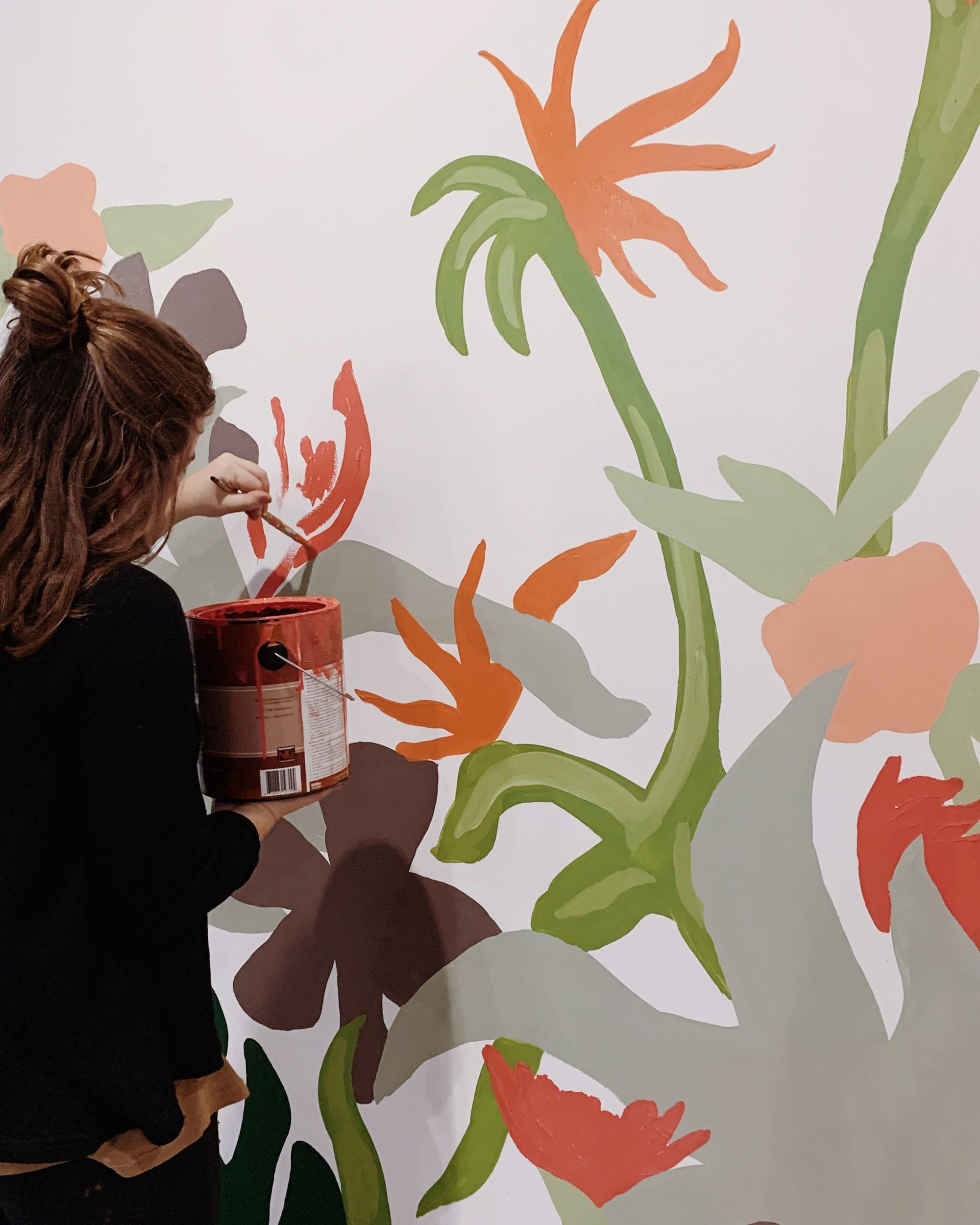 Jungle floral painted mural