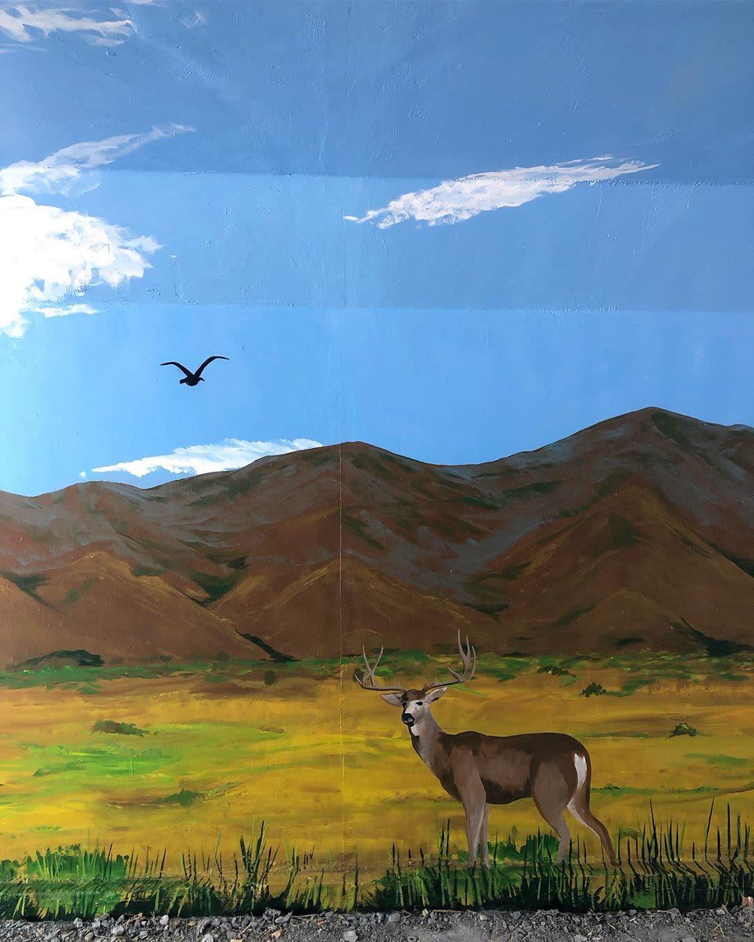 Street Murals by Josh Scheuerman seen at Jordan River Parkway Trail, Salt Lake City - 60s Mural