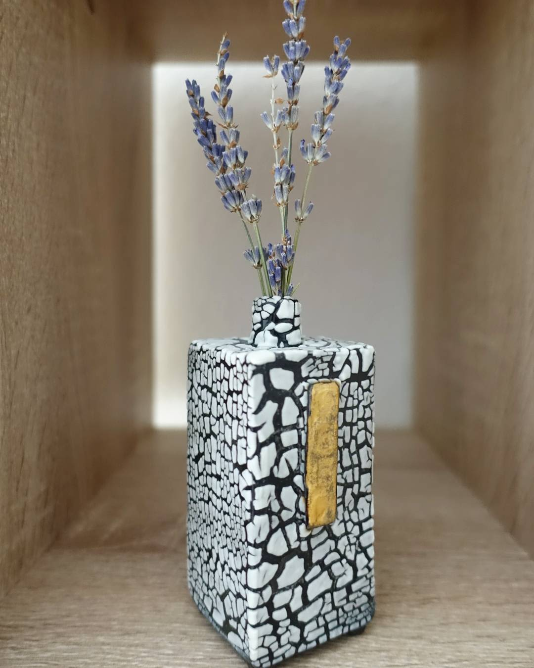 Rectangular Prism Black and White Crackle Pattern Vase with Gold Accent
