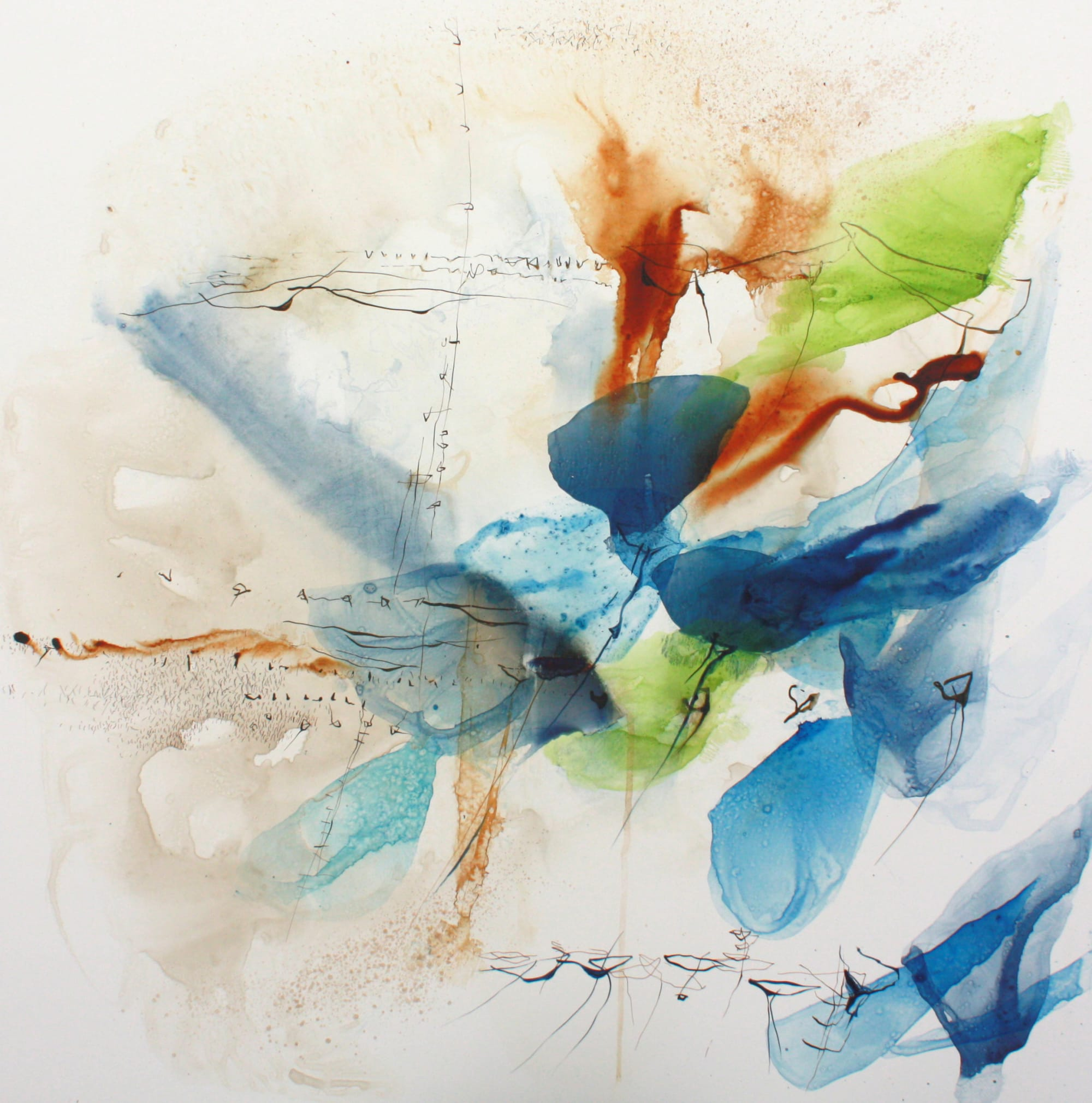 """Paintings by Ana Zanic seen at Private Residence, Boulder - Abstract Watercolors on Panel, """"Reverie"""" I and II, 30""""x30"""""""