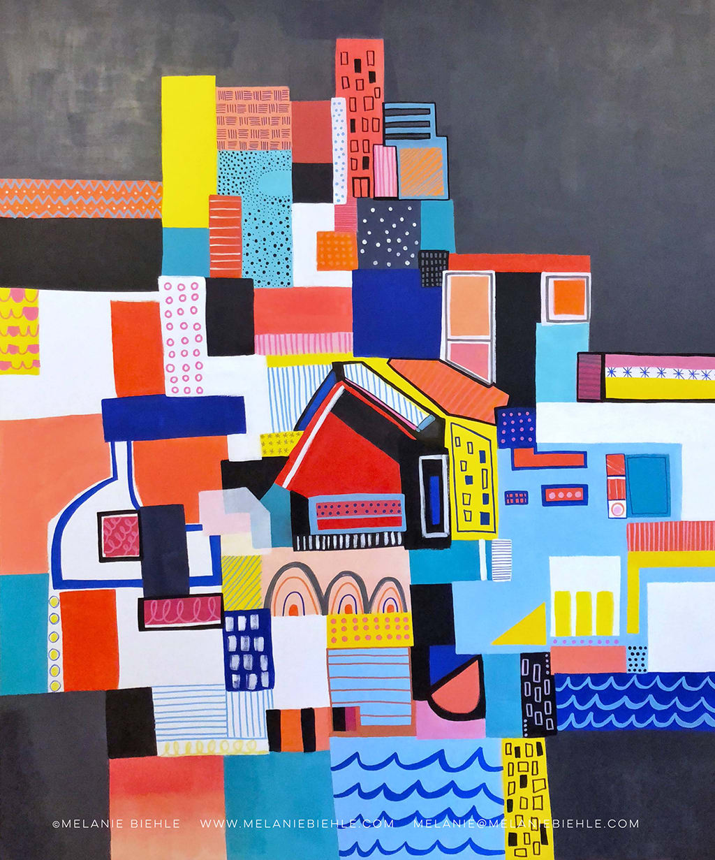 Paintings by Melanie Biehle seen at Civic Hotel, Seattle - Abstract Cityscape Painting Collection for Civic Hotel