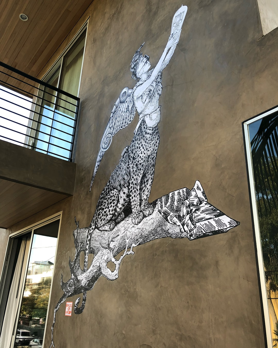 Murals by Made of Hagop seen at Private Residence, Los Angeles - Commissioned Totem