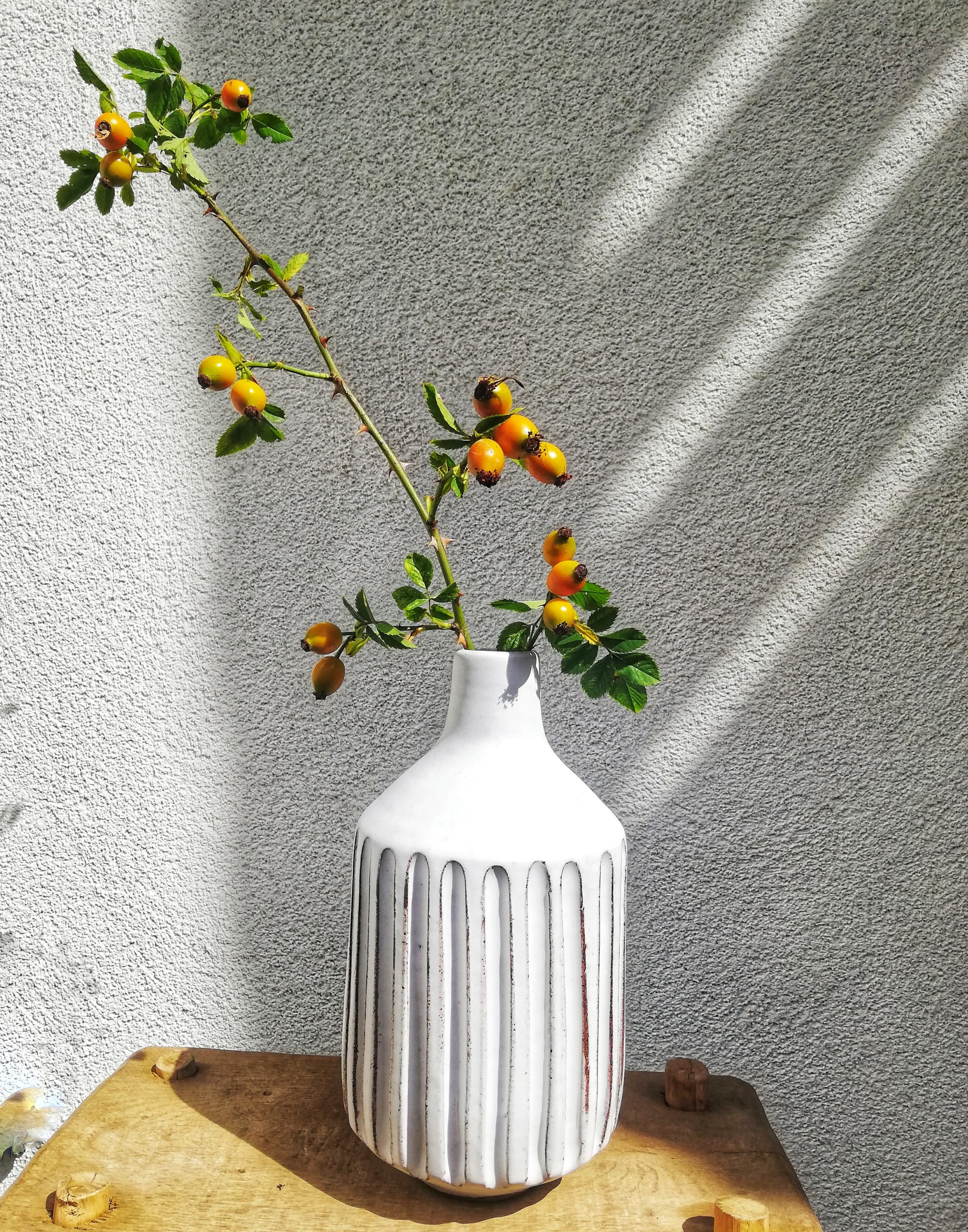 Fluted Bottle Neck White Vase