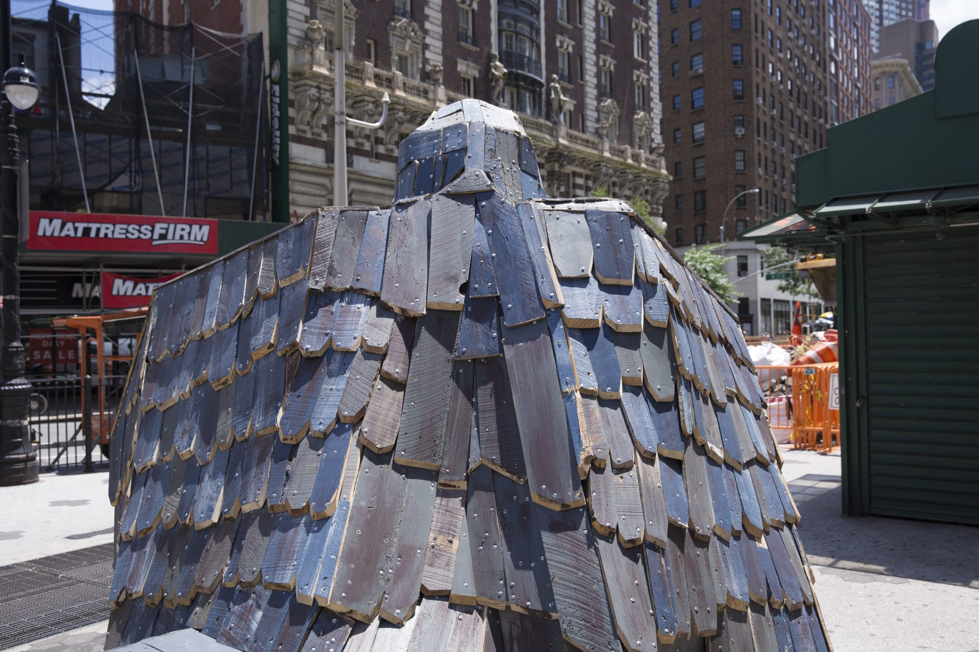 Public Sculptures by Nicolas Holiber seen at 72 Street / Broadway, New York - Peregrine Falcon