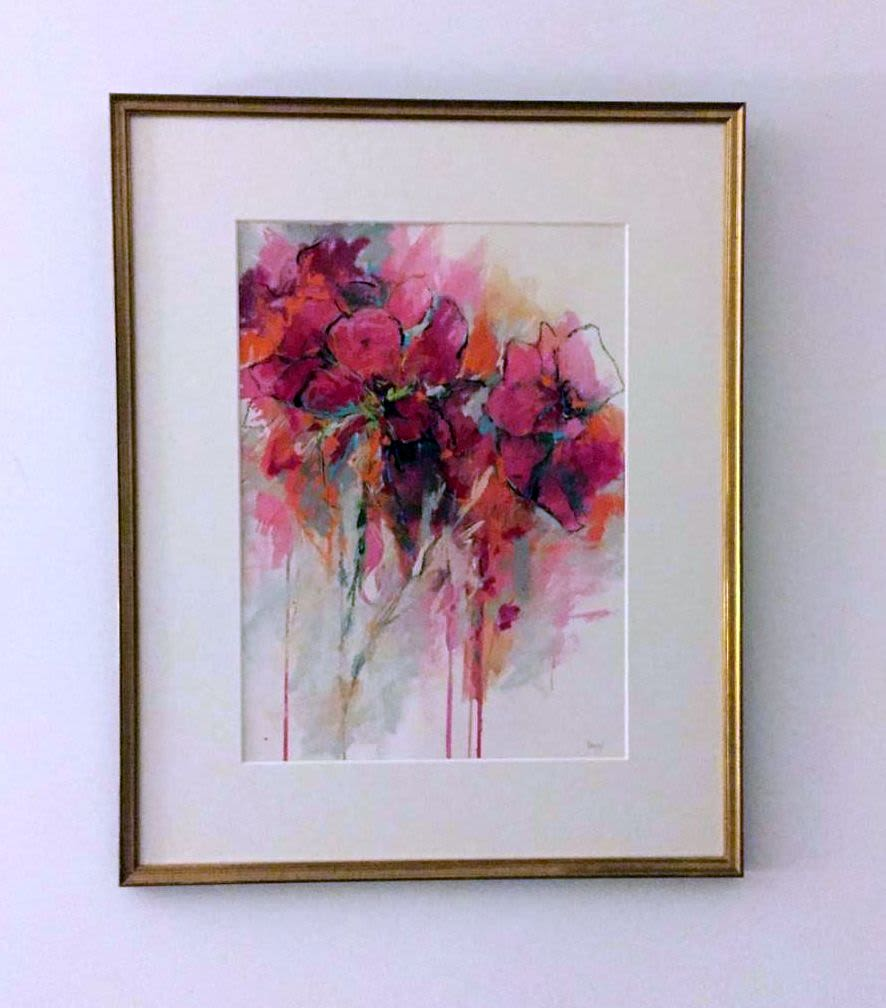 Abstract pink flower painting