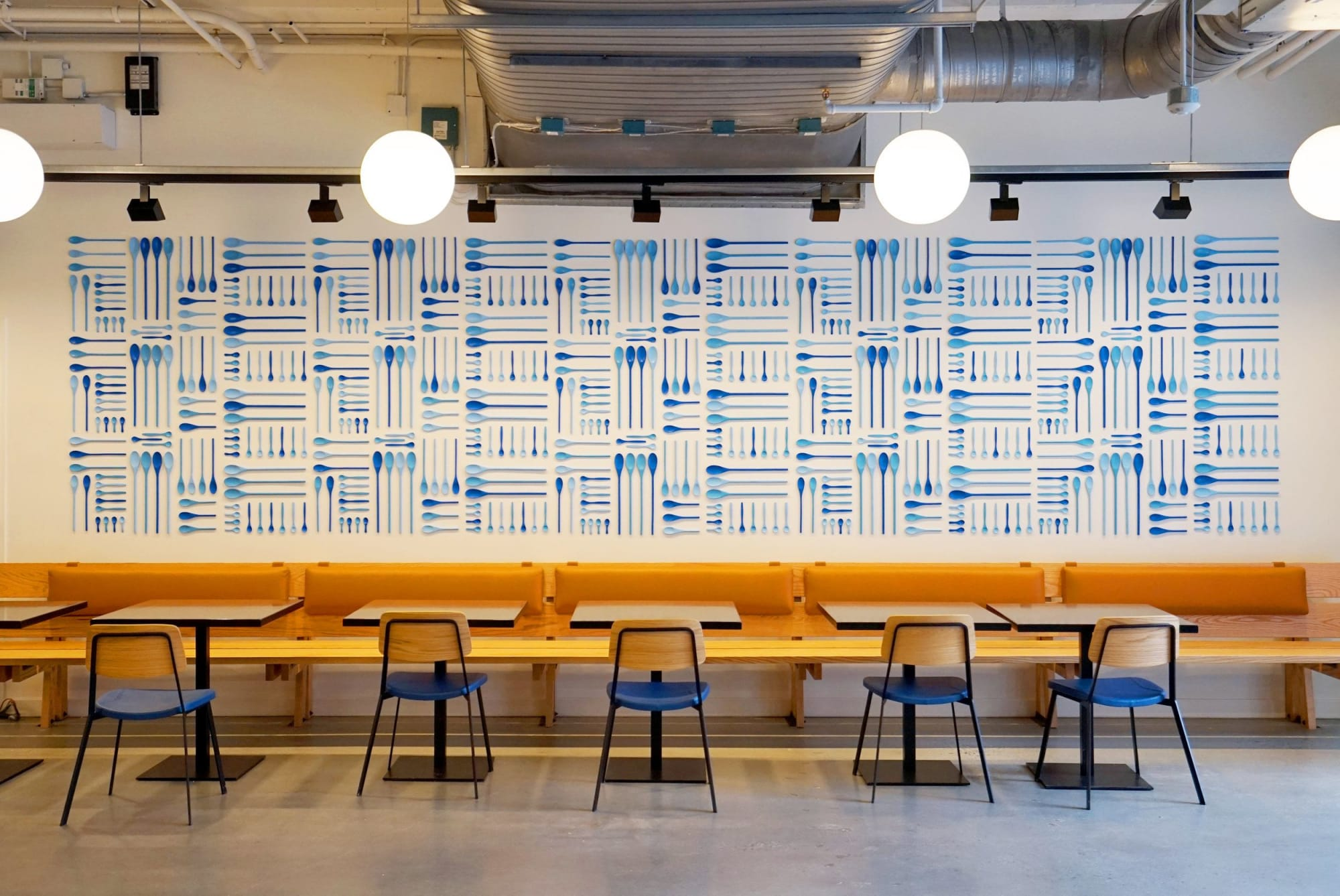 Patterned Blue Spoon Wall Treatment