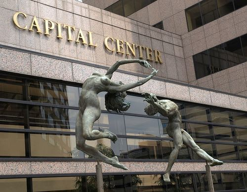 Sculptures by Zenos Frudakis seen at Indianapolis Capital Center, Indianapolis - Reaching Sculpture
