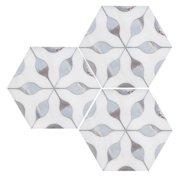 Small white pattern hex backsplash detail
