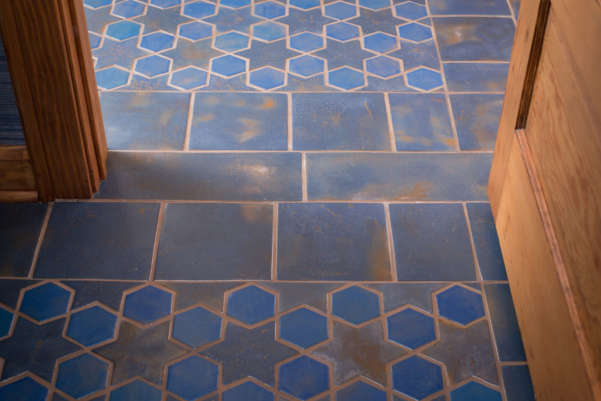 stars and hex tile floor