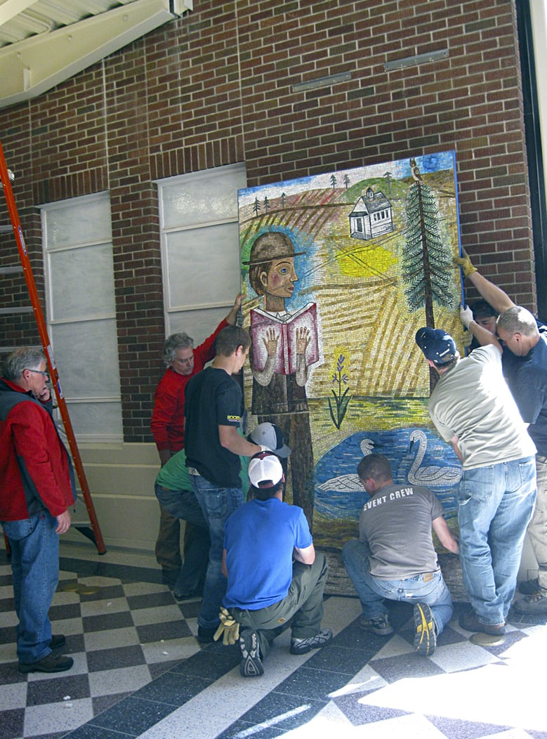 "Public Mosaics by Joanne Hammer seen at Eastern Washington University, Cheney - ""In Wanting to Know"""