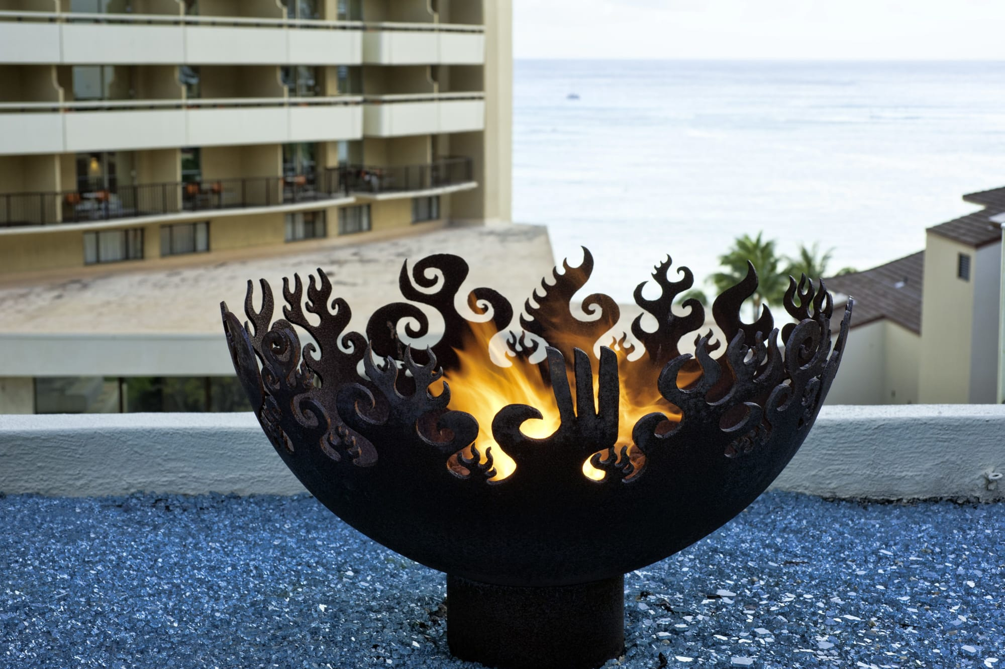 Decorative Firebowl with Flame and Phoenix Motiff