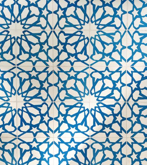 Blue star patter tiles