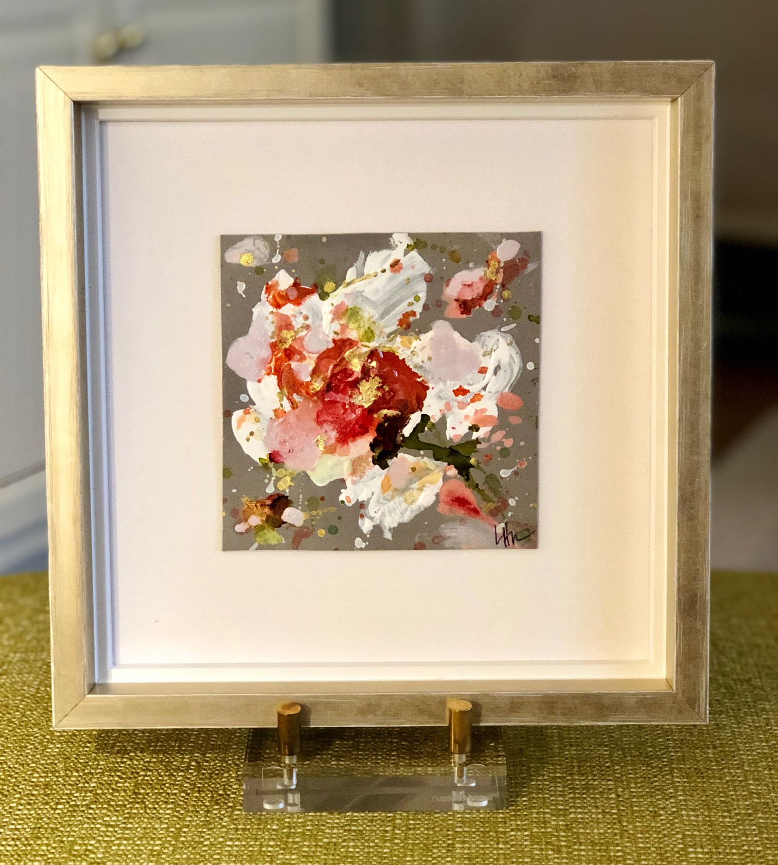 Mini orange and white floral painting