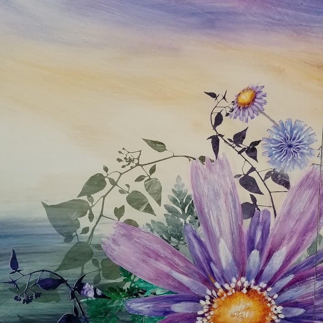 Purple daisy flower painting