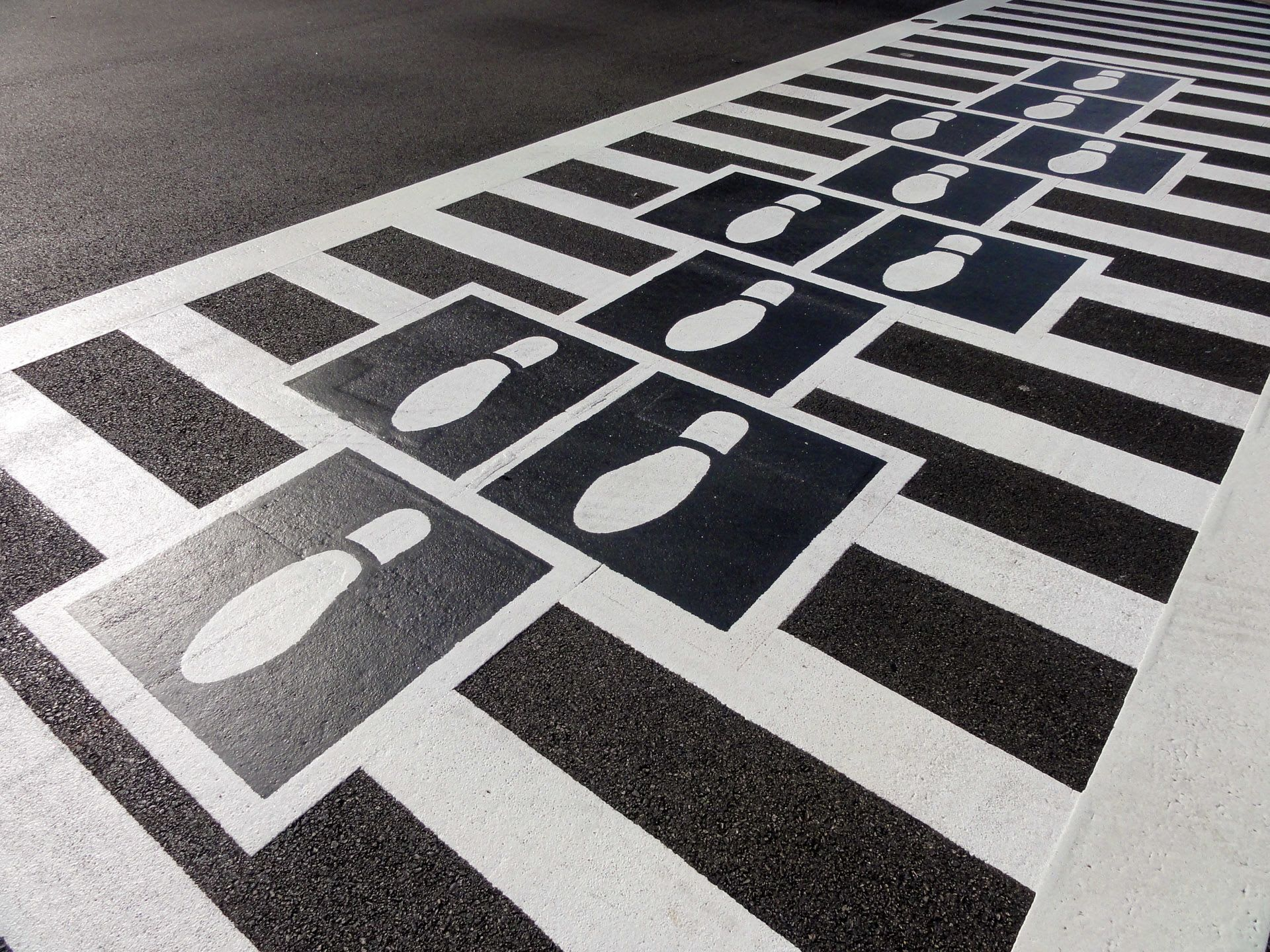 Street Murals by Graham Projects seen at Bromo Seltzer Arts Tower, Baltimore - Hopscotch Crosswalks Colossus