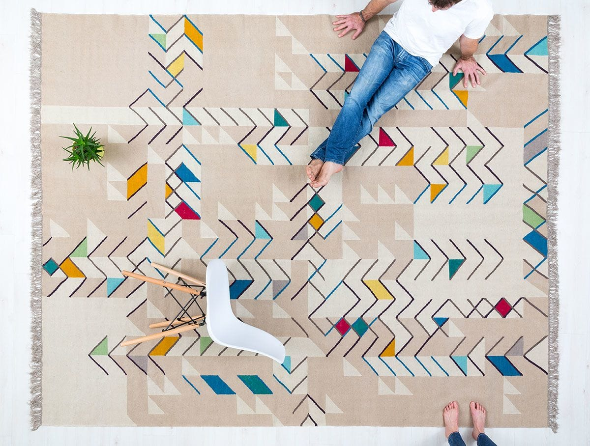 Tasteful Multi Colored Kilim Rug with Linear Elements and Beige Background