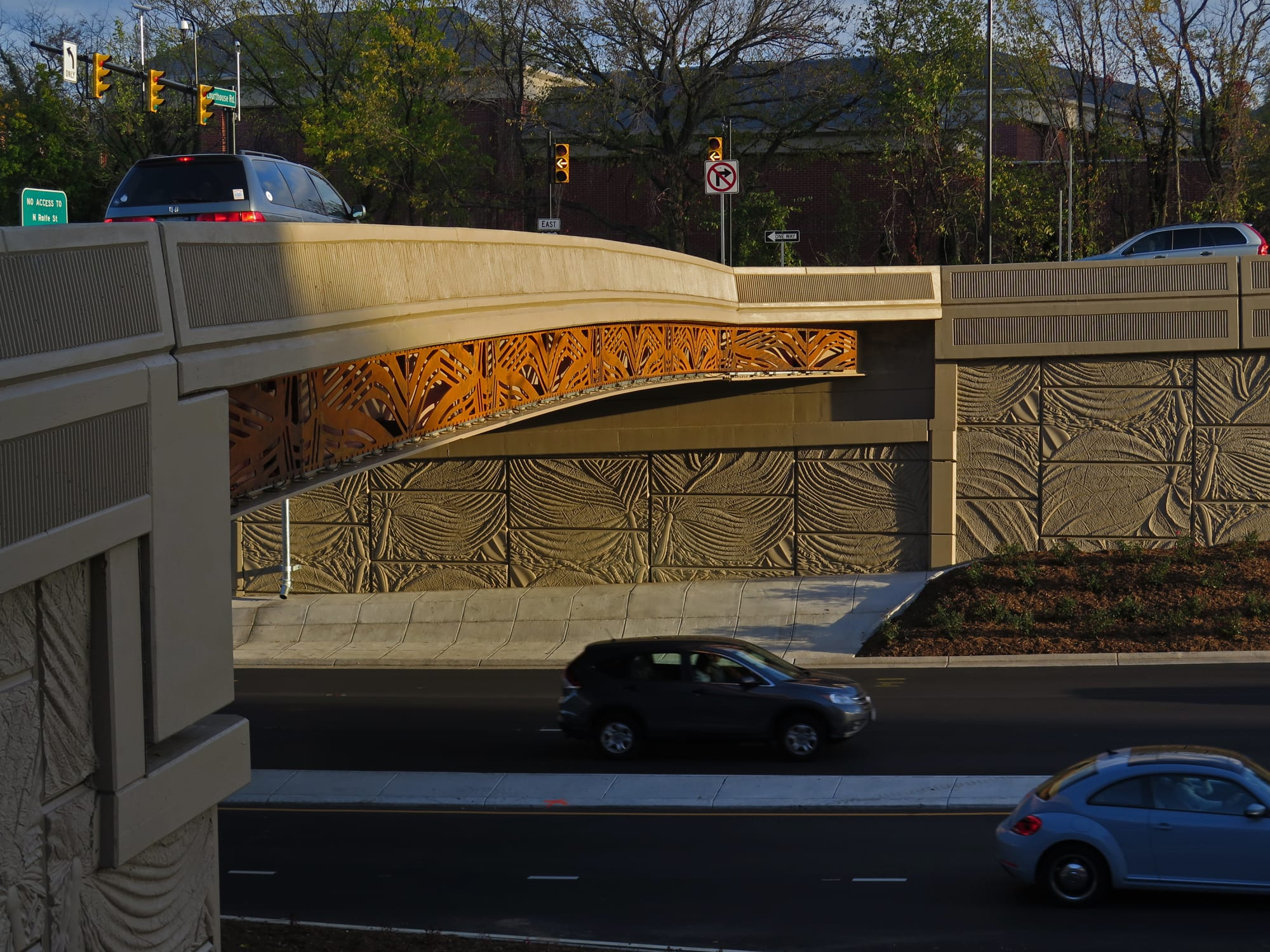 Public Sculptures by Vicki Scuri SiteWorks seen at Arlington Boulevard at Courthouse Road and 10th Street, Arlington, VA, Arlington - Arlington Boulevard Bridges