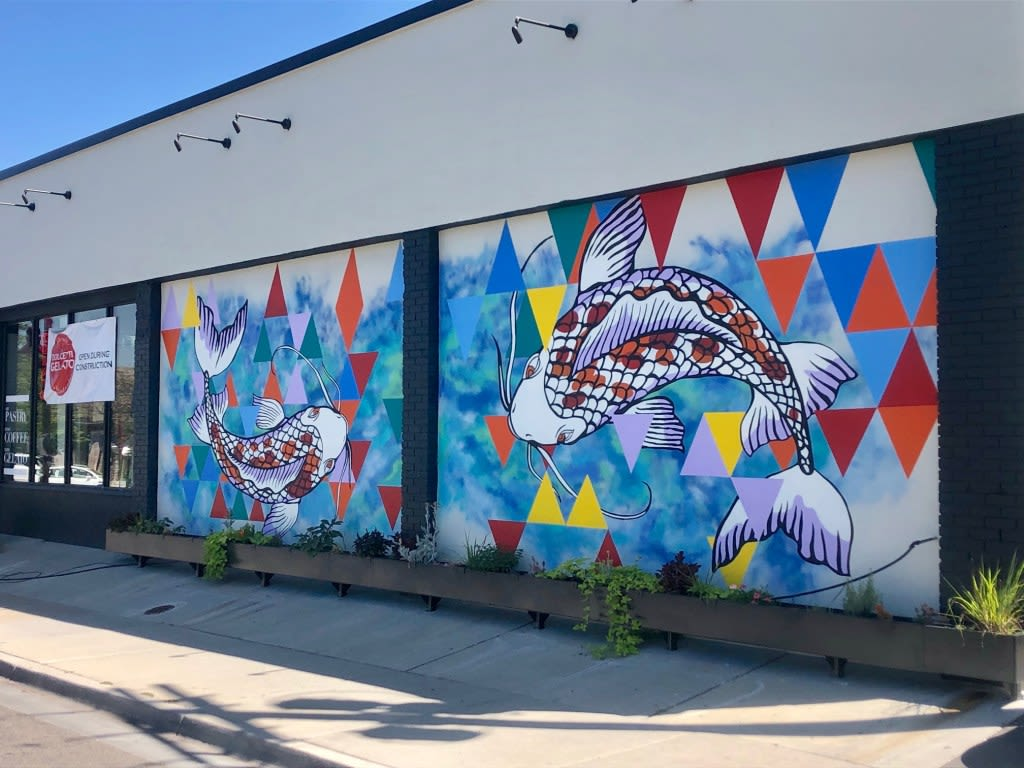 Murals by Josh Scheuerman seen at Dolcetti Gelato, Salt Lake City - Neighborhood Zen
