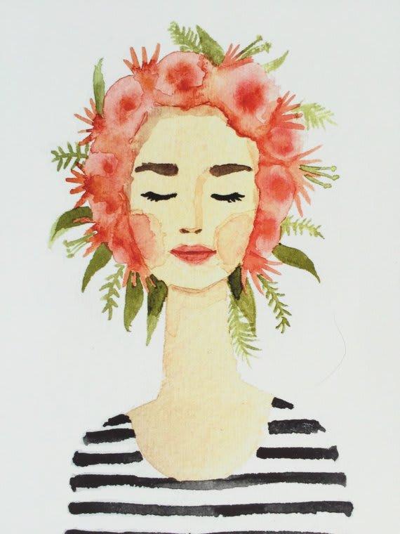 watercolor woman flower crown