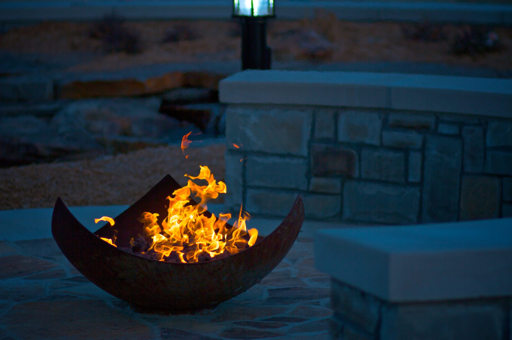 Sculptural Triangular Firebowl