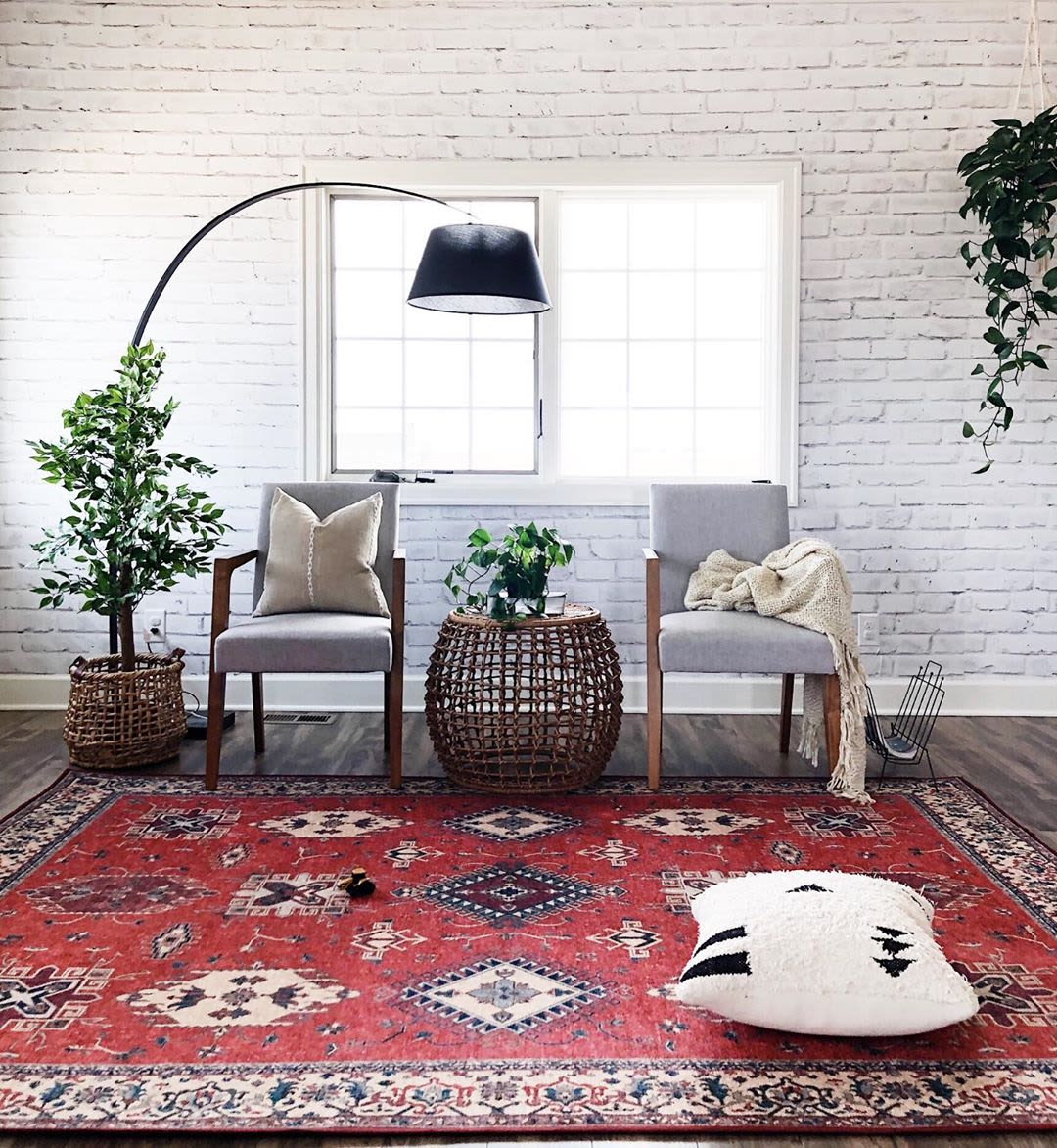 Moroccan inspired red pattern rug