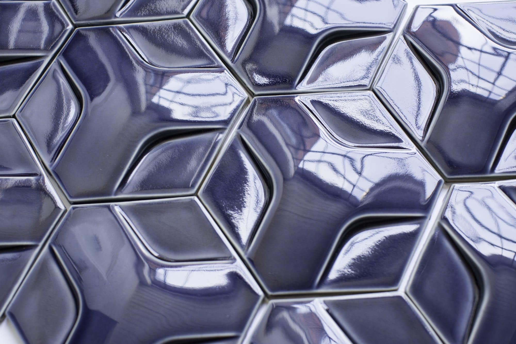 3D blue hex decor detail