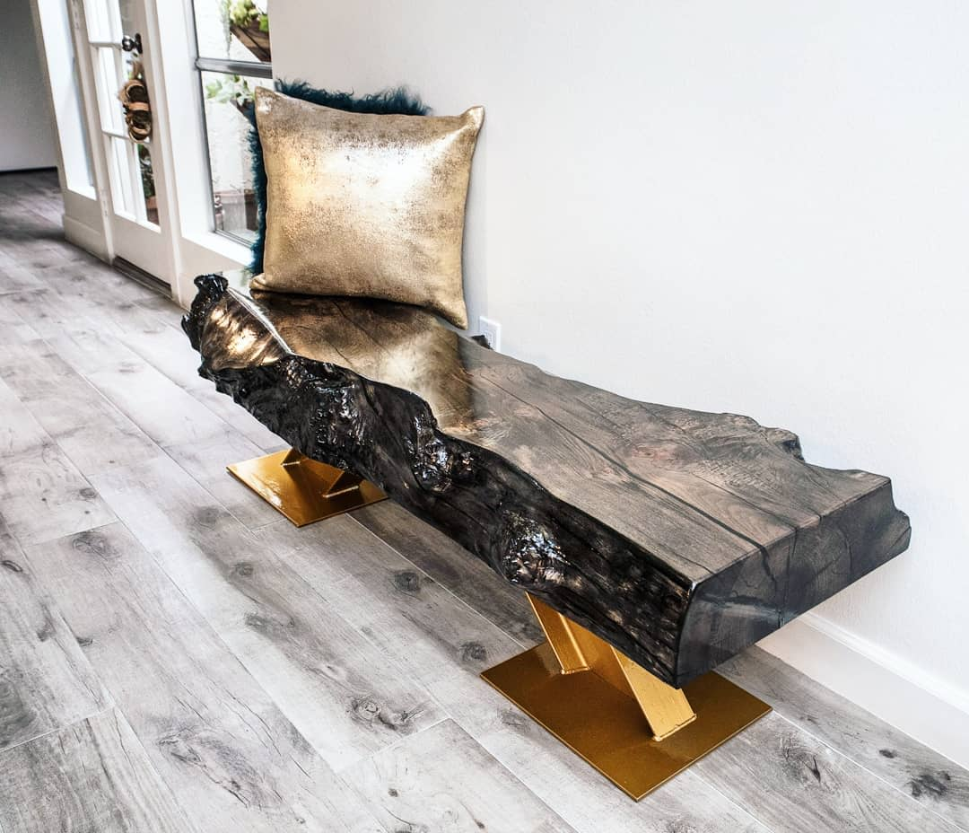 Live Edge Slab Bench in Bronzed Finish and Metal Legs