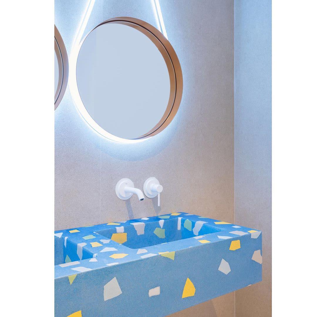 Tiles by Huguet Mallorca seen at Villa Chiquita Hotel Resort & Spa, Colonia de Sant Jordi - Terrazzo Washbasins