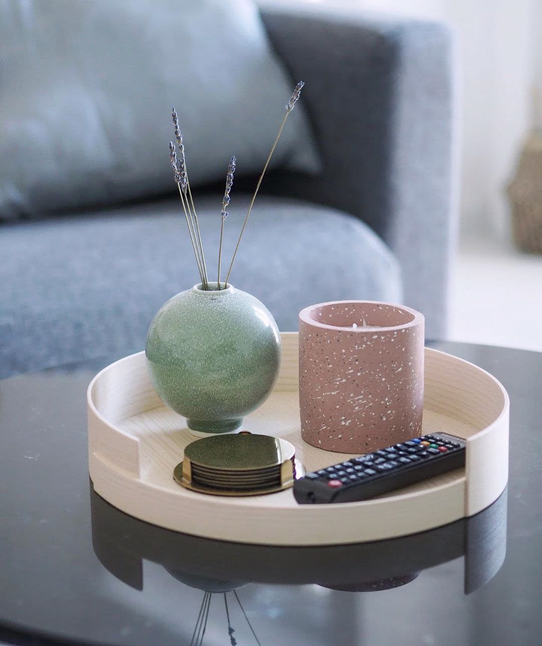 Green Spherical Ceramic Vase