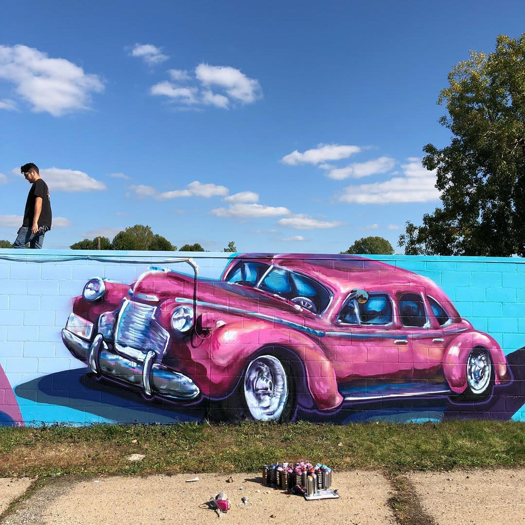 Pink street car mural