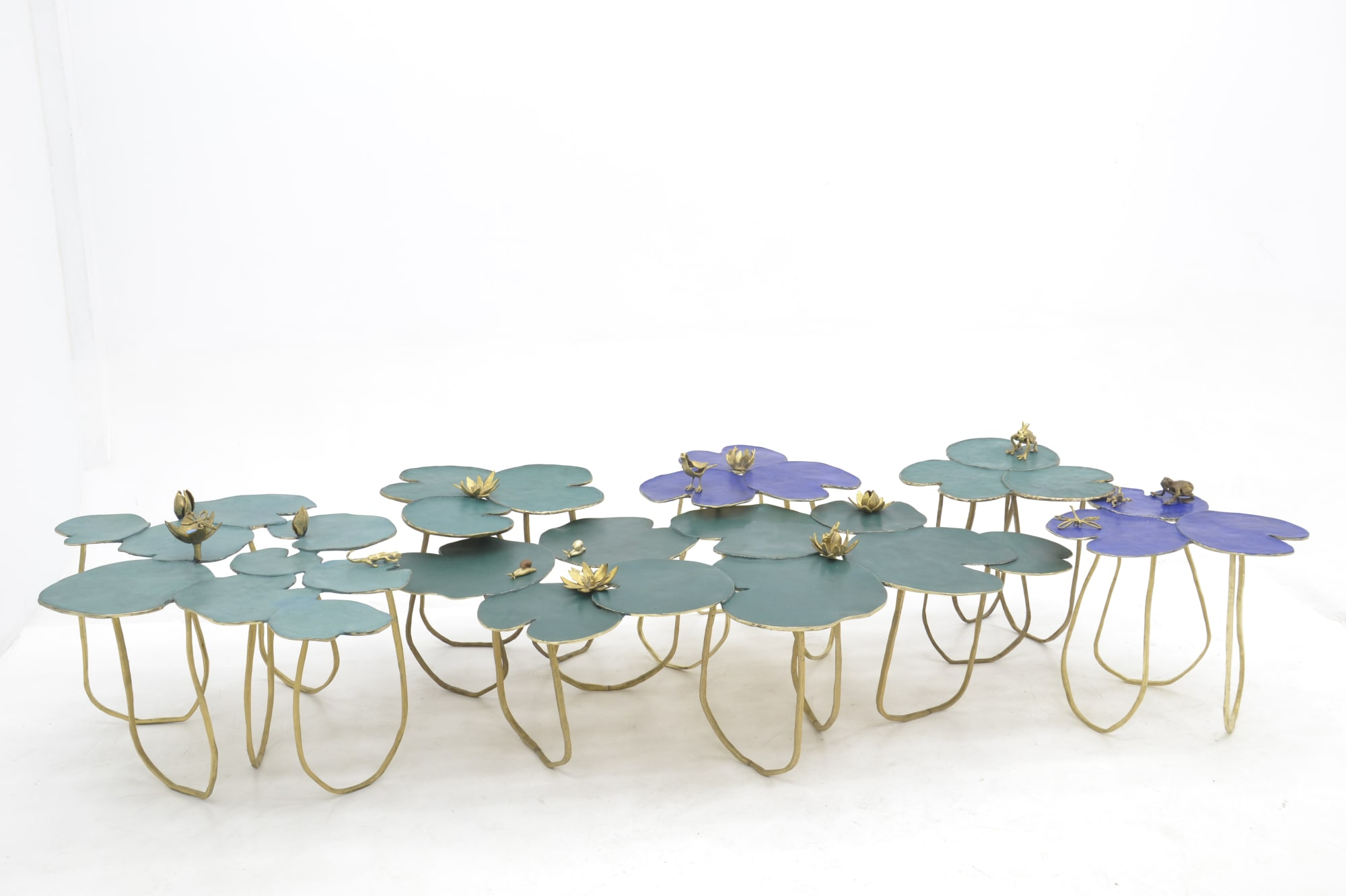 Sculptural Metal Waterlily Table
