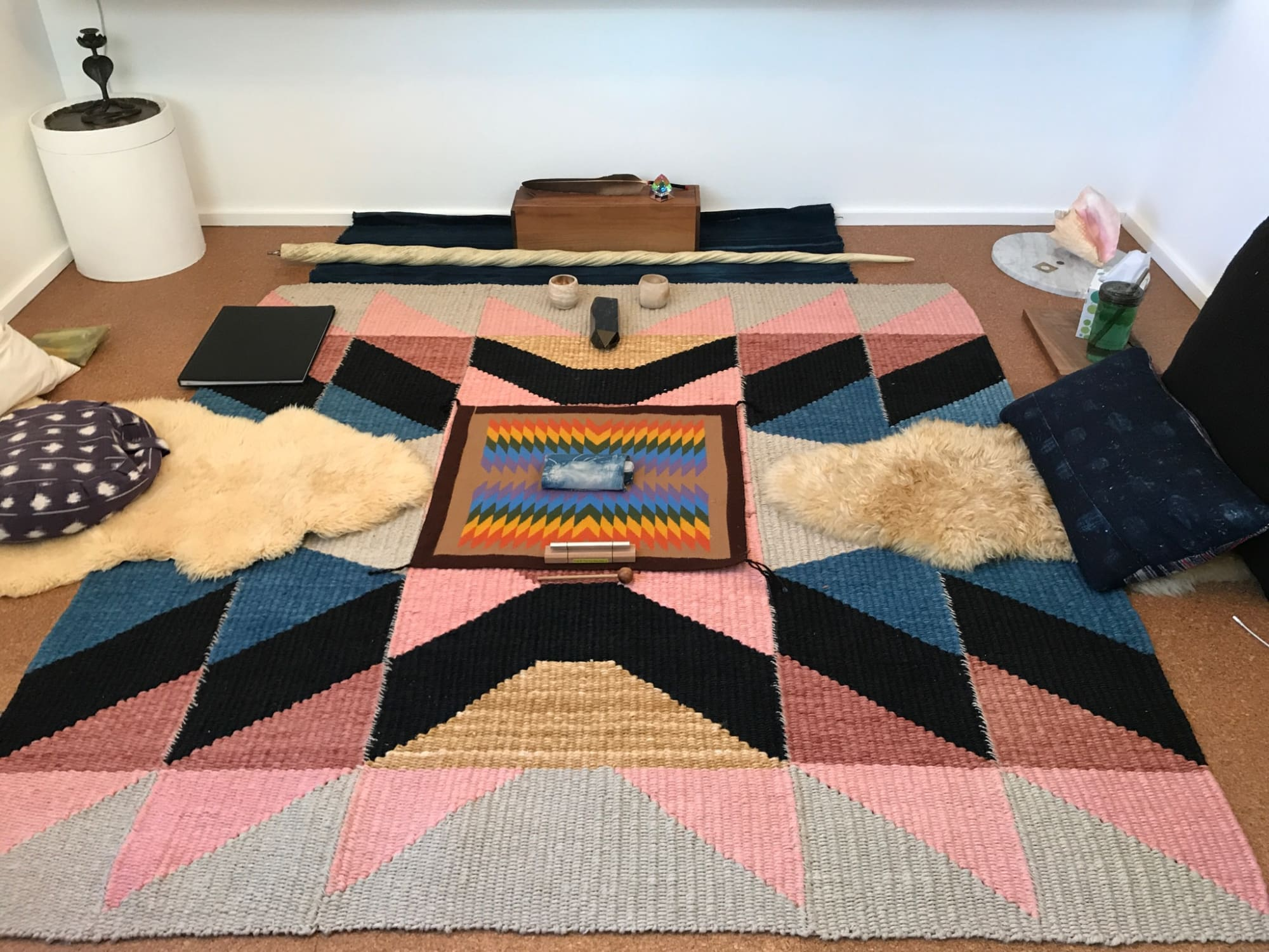 Multi Colored Hand Woven and Dyed Hemp Rug