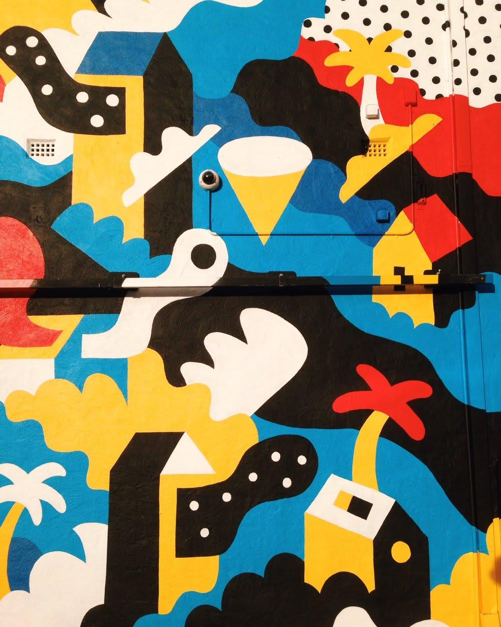 Murals by Brolga seen at Newport Hotel, Fremantle - Newport Hotel Fremantle Mural Commission