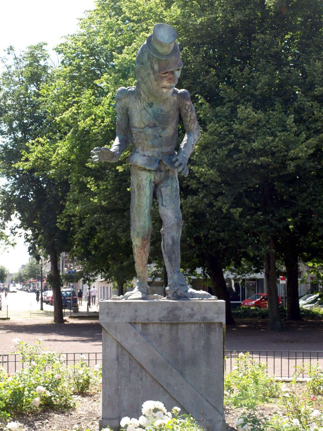Public Sculptures by Folkert de Jong seen at Koningsplein, Amsterdam - 'The Player'
