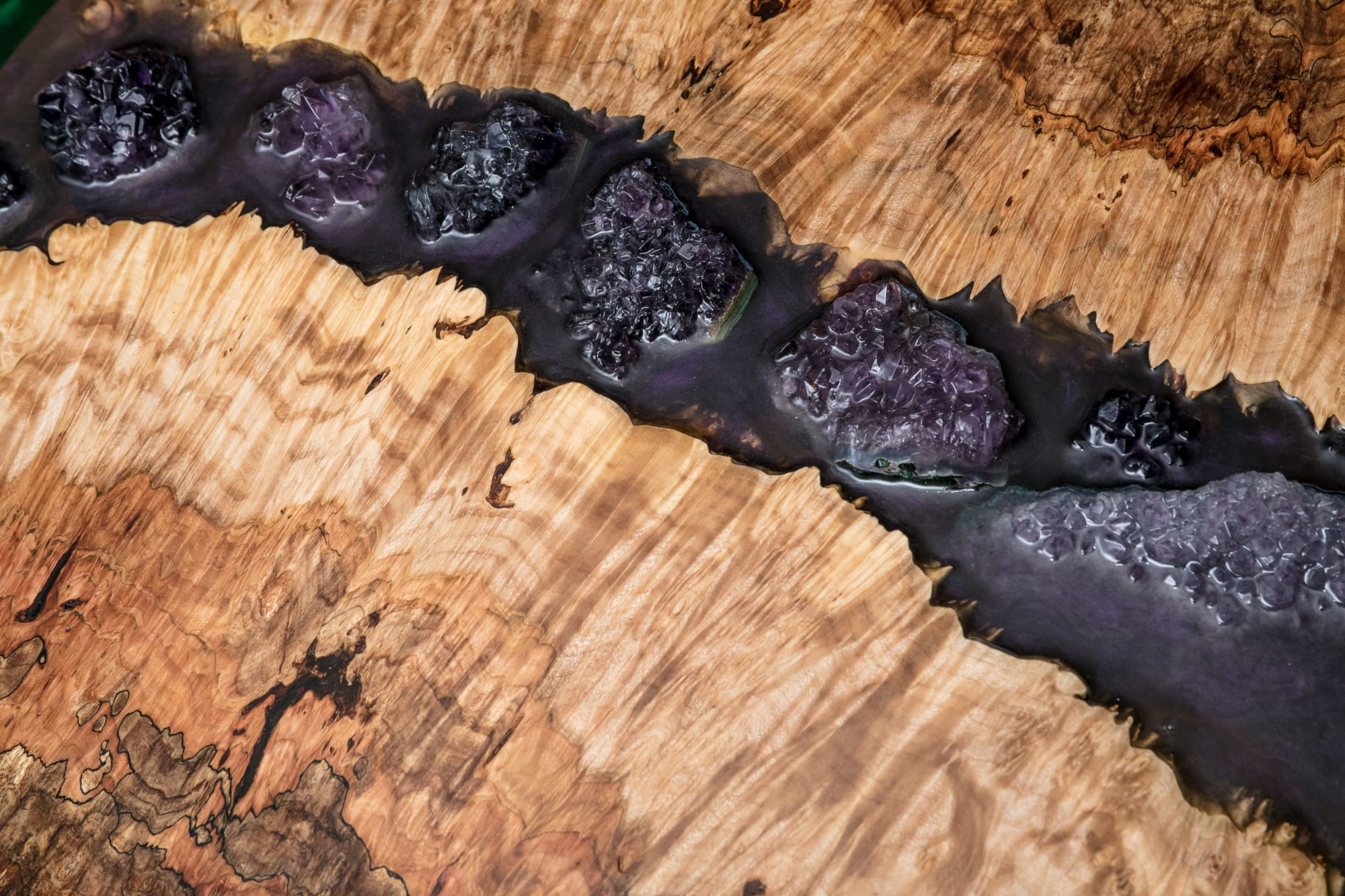 """Art & Wall Decor by Lumberlust Designs seen at Private Residence, Lubbock - Maple Burl Live Edge """"Enchanted"""" Amethyst Gem Purple Resin River 18"""" Wall Art"""