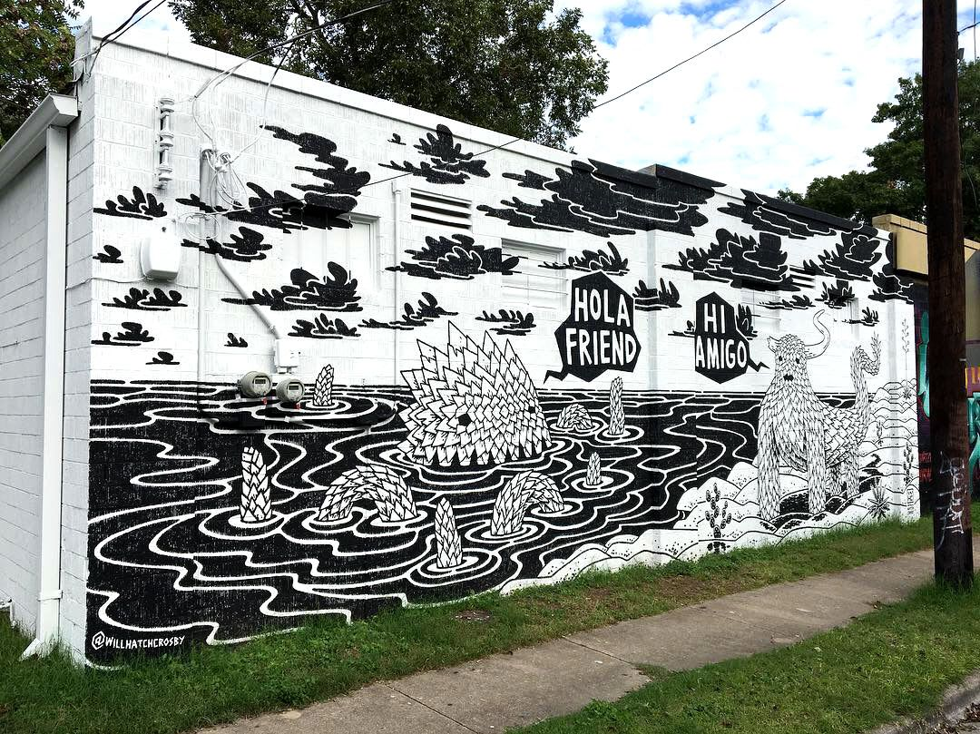 Black and White Sea Monster Austin Creators Mural