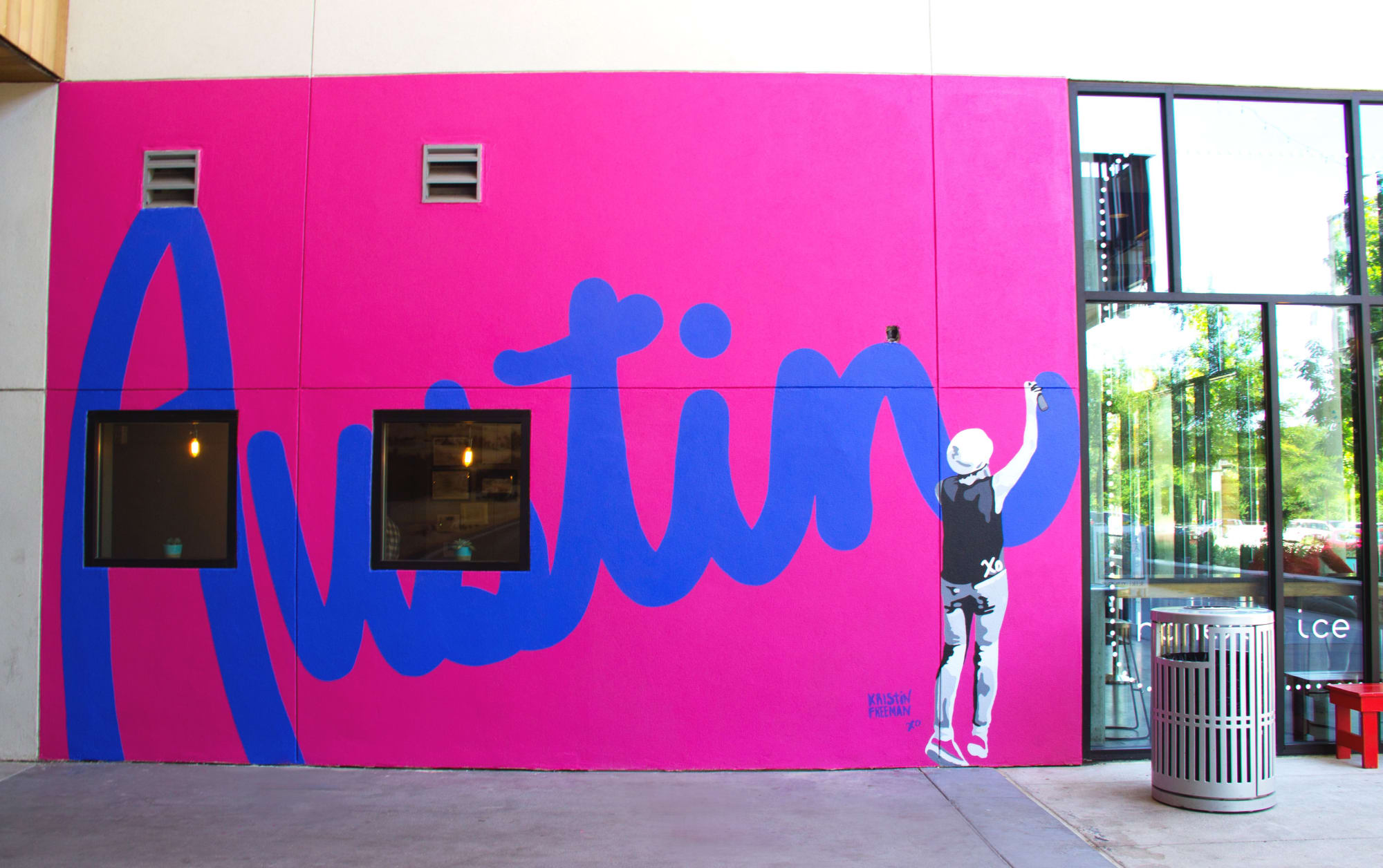 Pink and blue Austin spray paint mural