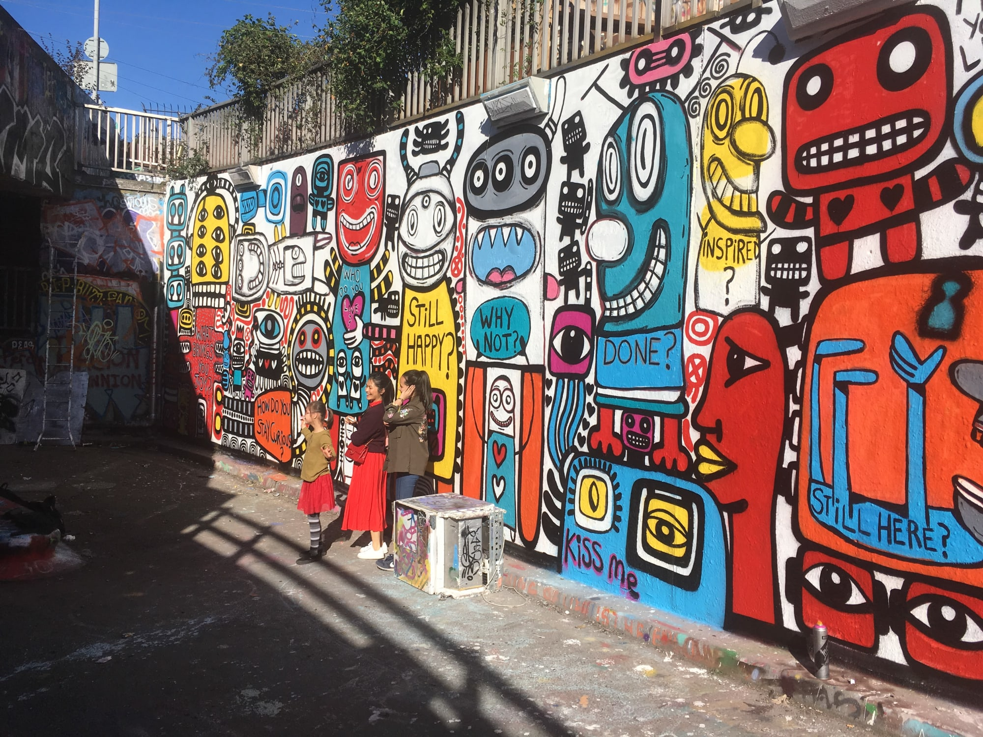 Murals by Gary Hirsch (botjoy) seen at Leake Street, London - Leake Street Botjoy Collab