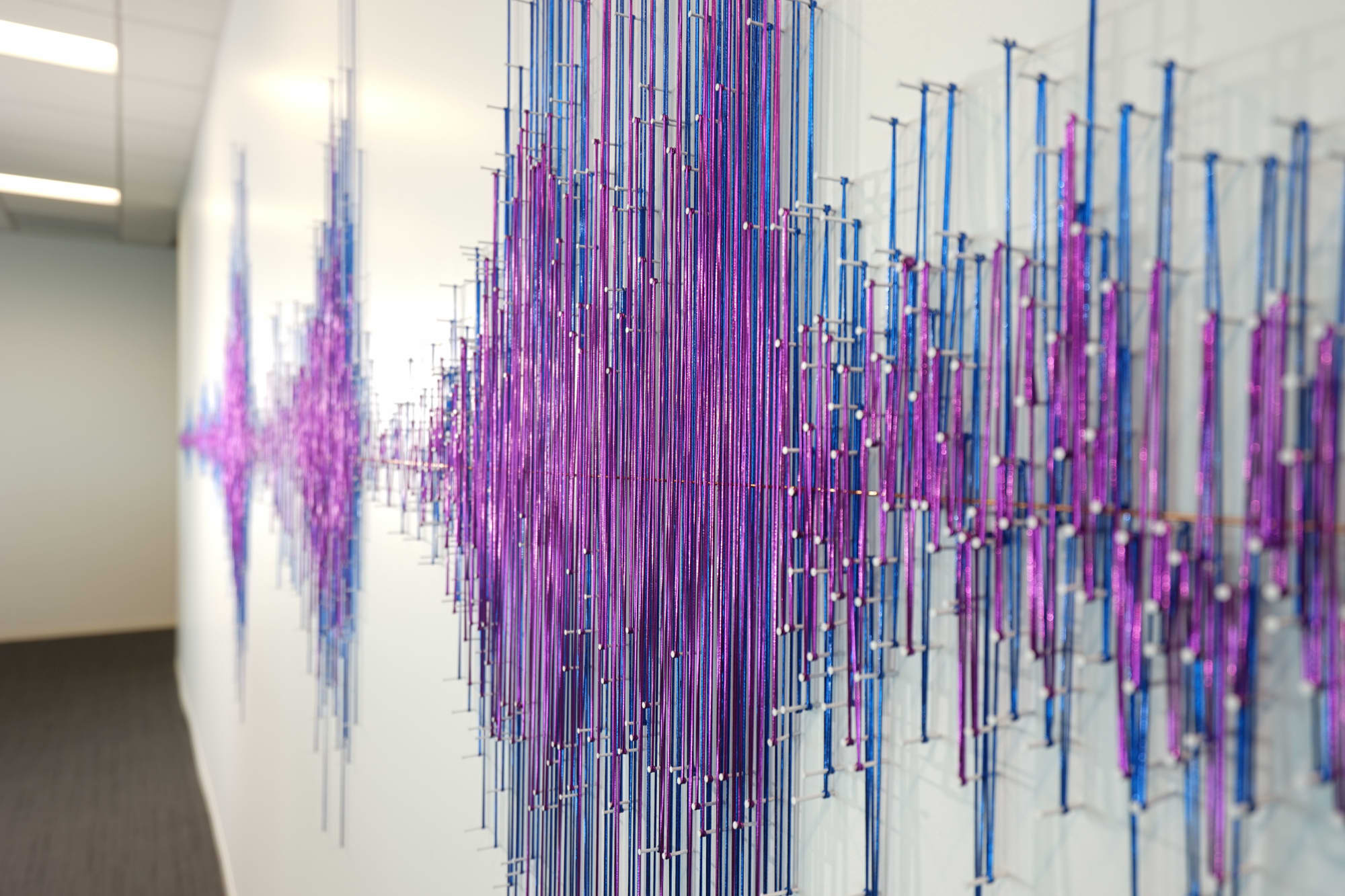 Fiber Sound Wave Sculpture in Blue and Purple