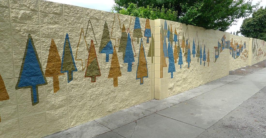 "Murals by Martin Webb seen at West Winton Avenue, Hayward - ""Stream"" Mural"