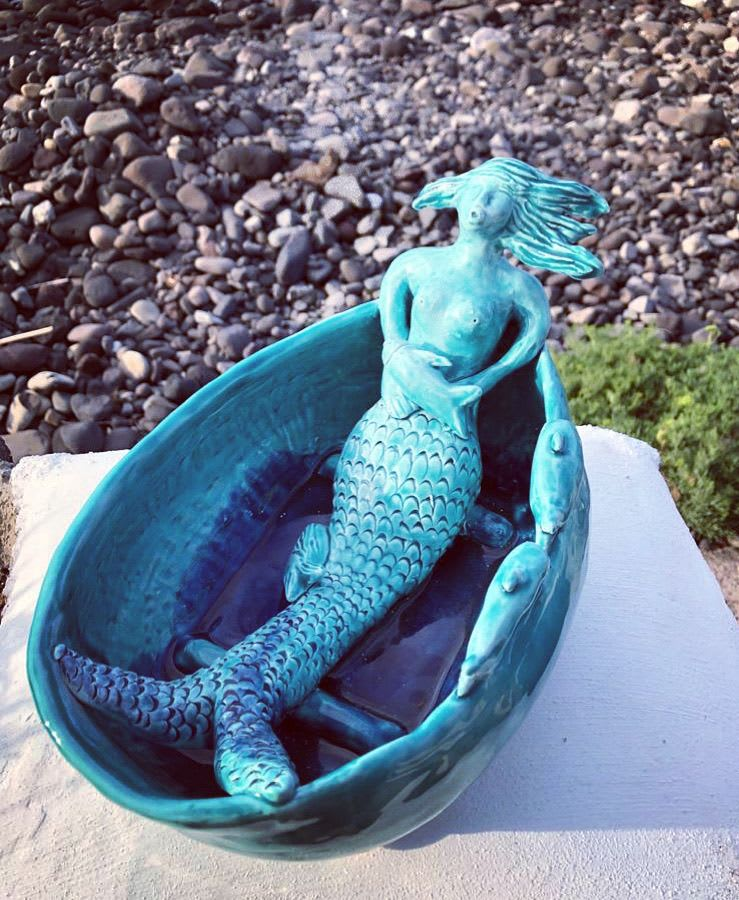 Blue Ceramic Mermaid Bowl
