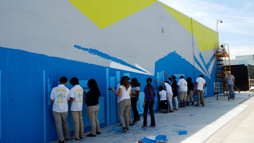 Street Murals by Louise Griffin seen at Locke High School, Los Angeles - Knowledge Moves Mountains